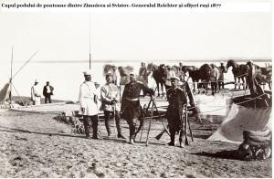 Capul podului de pontoane dintre Zimnicea si Svistov. Generalul Reichter și ofițeri ruși 1877