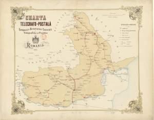 Harta telegrafo-postala (1865). Reorganizarea postelor din Principatele Române.
